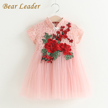 Bear Leader Girls Dress 2017New Summer Children Clothing Red Flowers Princess Casual Cheongsam Nice Lace Tutu Dress Kid Clothes