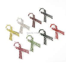10pcs Yellow/Clear/Brown/Black/Pink/Green/Red and Silver Breast Cancer Awareness Ribbon Rhinestone Pendant for Girls Neklace(China)