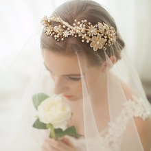 Vintage Jeweled Headband Tiara with Pearl Rhinestone - Gold Handmade Hair Band Costume Accessories for Bride Party Prom Festival(China)