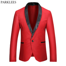 Red Blazer Men 2017 Brand New Single Button Men Blazers Slim Fit Black Patchwork Collar Casual Mens Suit Jacket Costume Homme