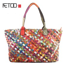 AETOO 2017 spring and summer new original single weaving ladies hand shoulder diagonal package 100% genuine leather handbag(China)