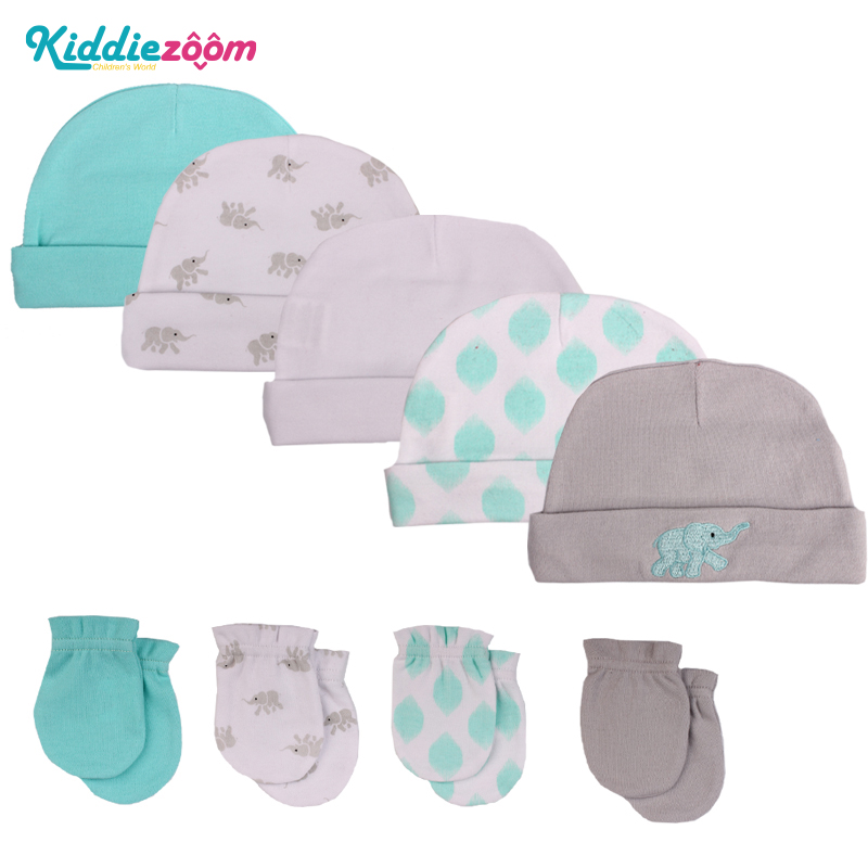 Kiddiezoom Baby Girls 3-Pack Cap and 5-Pack Scratch Mitten Set