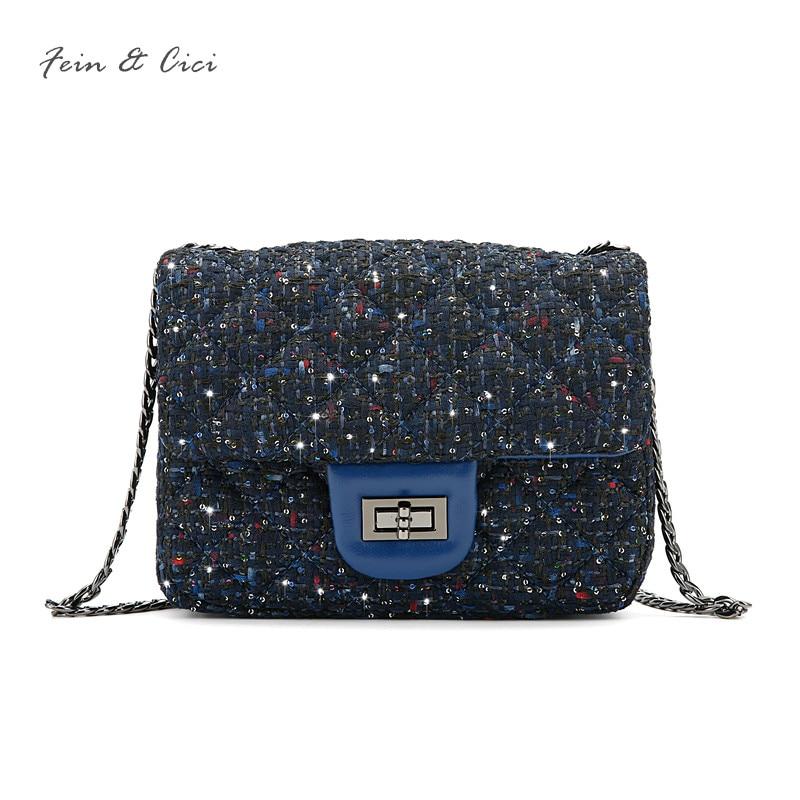 luxury brand chains flap bag women small tweed bag mini sequined party bag blue handbag sheepskin leather messenger bag 2018 new<br>