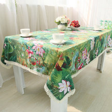 Chinese classical Line lotus tablecloth table cloth Multi Size rectanqular tablecover high quality hot sale(China)