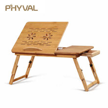 Desk Table Notebook-Books Computer Laptop-Stand Office Sofa-Bed Folding Bamboo with Fan