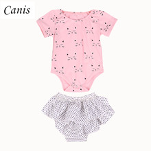 Adorable Infant Baby Girls Pink Cat Romper + Polka Shorts Pants Short Sleeve Jumpsuit Outfits Set 2017(China)