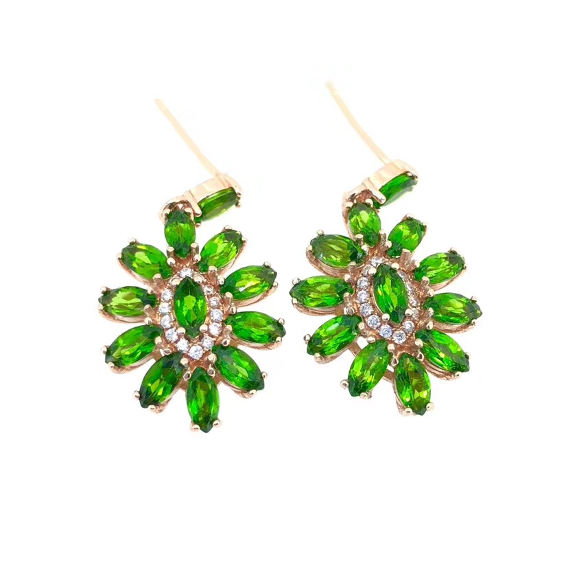S925 silver natural green diopside gem drop earrings natural gemstone women fashion Sun flower women birthday party gift jewelry