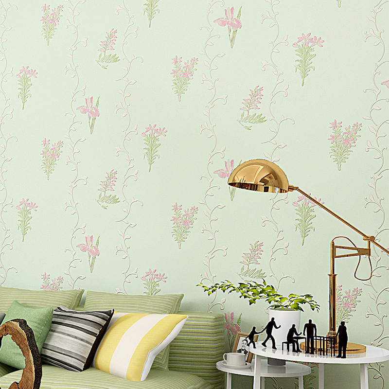 Pressure three-dimensional non-woven wallpaper warm pastoral flowers wallpaper bedroom living room full of sofa background<br><br>Aliexpress