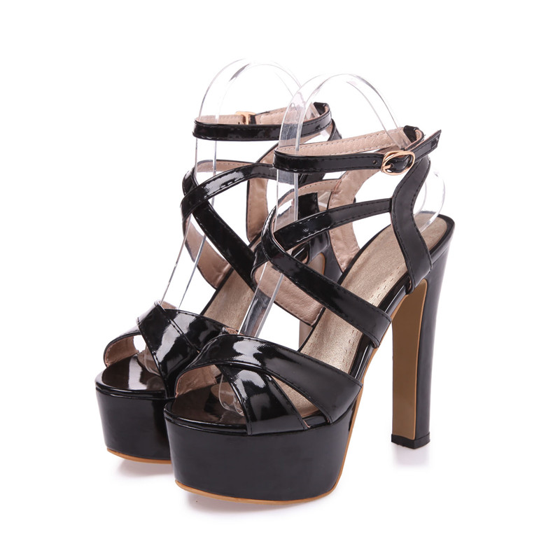 2017 New Fashion Women Sandals Ankle Strap Buckle High Heel Platform Patent Leather Party Dress Cool Summer Sandals Ladies Shoes<br><br>Aliexpress