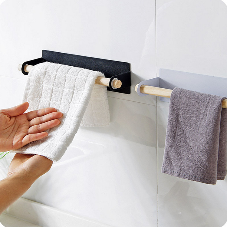 HOT Paste Wrapped Towel Bar Free Punching Iron Towel Rack Kitchen Wipes Rack Towel Shelf 4