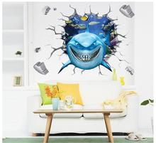 Smiling Shark Wall Stickers for Living Room Decor Home Decals Deep Sea World Jaws Fish 3d Animals Wall Art Peel and Stick