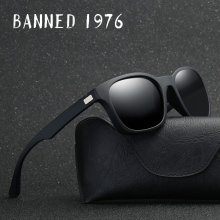 BANNED 1976 Unisex Aluminum Square Men's Polarized Mirror Sun Glasses Polarized Lens Vintage Eyewear wayfar points Sun Glasses(China)
