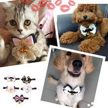 Bells 2 size Dog Cat Pet Collar Cute Bow Tie Dog Collars With Bell Puppy Kitten Necktie Collar pets Jewelry for dogs DIY Photo