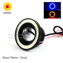 "White Red Amber Blue 76MM 15W High Power 3.0"" Projector LED Fog Lens Light w/ LED Halo Angel Eyes Rings For Car"