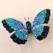 Butterfly stretch ring for women girls summer bling jewelry W crystal gold & silver color wholesale dropship 12(China)