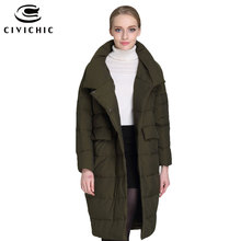 CIVICHIC Hot Fashion Women's Down Jacket Mid Long Irregular Warm Coat Covered Buttons Parka Soft Eiderdown Outer Clothing DC574