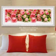 Full Diamond Painting Flowers Bloom Diy Diamond Embroidery Large pink Rose Picture For The Bedroom 150x50cm