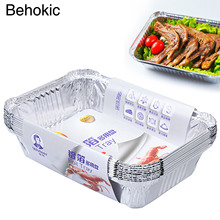 Behokic 10 PCS 830ml Sanitary Grills Aluminum Foil Plate Pans Storage Bowls Container for BBQ Barbecue Baking Making Food Fresh