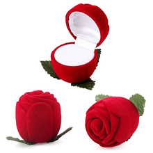 Good Beautiful and romantic Red Rose Jewelry Box Wedding Ring Gift Case Earrings Storage Display Holder 4ZDO(China)