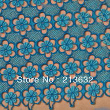 New dream blue net 3D cotton lace high quality elastic dream blue lace fabrics,wedding dress cloth lace.spandex lace ccessories(China)