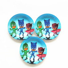 10pcs Cartoon PJ Mask Theme Paper Plates Birthday Wedding Party Supplies Decoration Cake Dish Disposable Baby Shower Favors