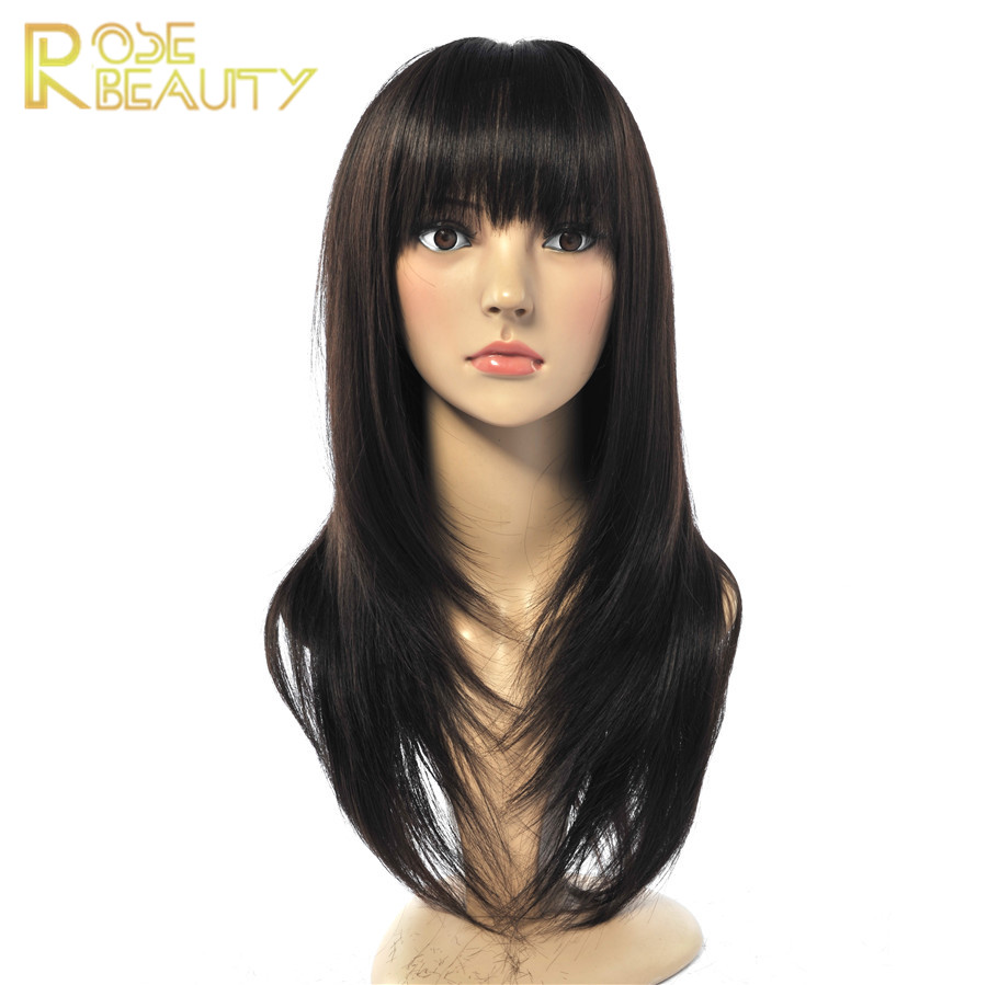 pelucas pelo natural synthetic wig African american Sexy Long Straight Black wigs Heat Resistant Synthetic Hair Wigs for Women<br><br>Aliexpress