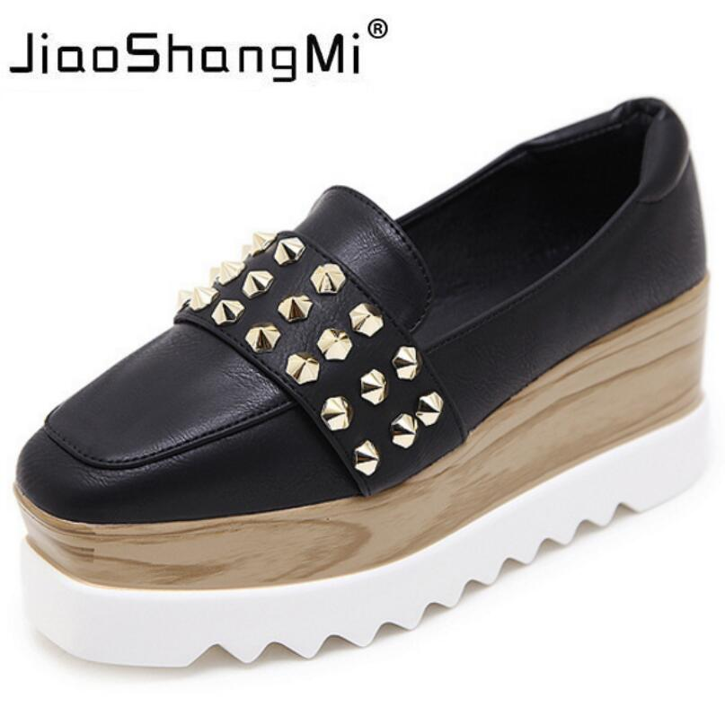 2017 Rivet Women Sneaker Flat Platform Leather Slip-On Square Toe Oxford Shoes For Women Platform Autumn Winter Fashion Creepers<br>