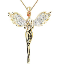Charming Exquisite Popular High Quality Necklace Angel Wing With Full Crystal Pendant Necklace(China)