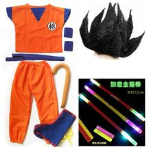 Dragon Ball GoKu Cosplay Costume Adult /Child Anime cosplay clothes Top+ pants + wrist + shoe cover + tail + stick + wig + belt