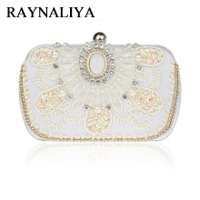 Brand Women Clutch Bags Pearl Beaded Evening Bag Wholesale Bridal Wedding Party Purse Camel Crystal Handbag CWL-B0008