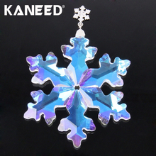 Crystal Snow Flower Hanging Pendant Decorations Chirstmas Car Rearview Mirror Snowflake Ornament Suspension in car(China)