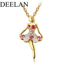 DEELAN fashion crystal Ballet girl Pendant necklace Gold color For women Party charm popular jewellery Christmas friend gift
