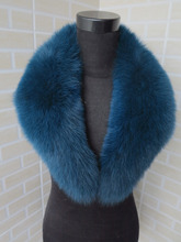 2015 new style Genuine fox fur collar peacock blue  tips 80*14cm women's fur collar
