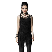 Punk Gothic Summer Women's Black Tank Tops Sexy Hollow Out Spider Wed Top T-shirt Sleeveless Vest Fitness Clothes For Women T-31