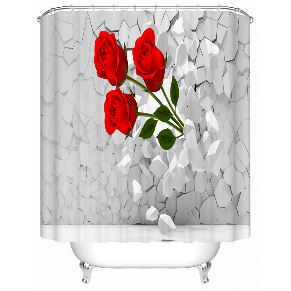 Bright Red Roses Shower Curtains Creative Customized Acceptable Eco Friendly Bathroom Products Waterproof Curtain
