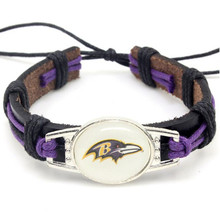 New Fashion Baltimore Ravens Football Team Leather Bracelet Adjustable Leather Cuff Bracelet For Men and Women Fans 10PCS(China)