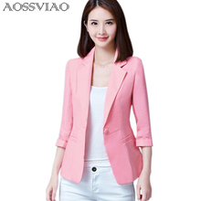 AOSSVIAO Blazers 2017 New Fashion Single Button Blazer Women Suit Jacket Green White Black Pink Blue Blaser Female Blazer Femme(China)