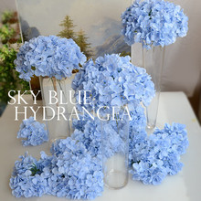 Artificial silk hydrangea flower head wedding bouquet decoration or DIY Production backdrop with flowers 50pcs/lot TONGFENG(China)