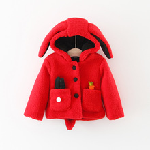 2017 Promotion Casual Cotton Corduroy Girls Full Winter New Girl Korean Edition, Junior Wool Sweater, Hooded Cartoon Coat 1003(China)