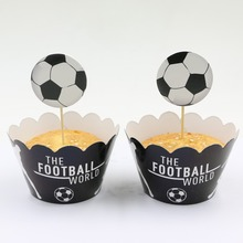 24pcs/lot sport football/soccer player Toppers Picks Cupcake Toppers Picks Kid Birthday Party Decorations evnent Party Favors