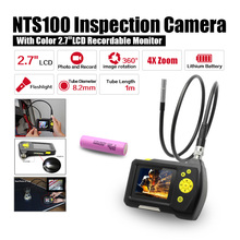 "Dia 8.2mm 2.7"" LCD NTS100 Endoscope Borescope 1M Snake Inspection Tube Camera DVR+Free 18650 Lithium Battery"