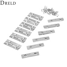 DRELD 12PCS 15*35mm Mini Cabinet Drawer Butt Hinge Kitchen Window Door 4 Small Hole Small Hinge With Screws Furniture Fittings