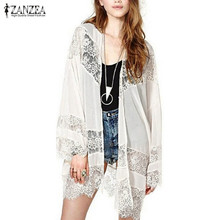 ZANZEA 2017 Summer Style Fashion Women Lace Floral Crochet Chiffon Blouse Boho Kimono Cardigan Tops Plus Size Blusas Femininas(China)