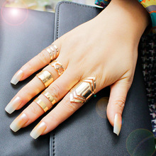 F&U Zinc Alloy Gold Color Ring Set for 5pcs Fashion Girls Gift Jewelry Bijoux Europe Popular Style Set Ring