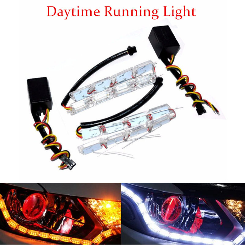 Car-Styling Universial 8W 12LED Daytime Running Lights Waterproof External HeadLight LED Car Strip Light Source DRL Fog Lamp <br><br>Aliexpress