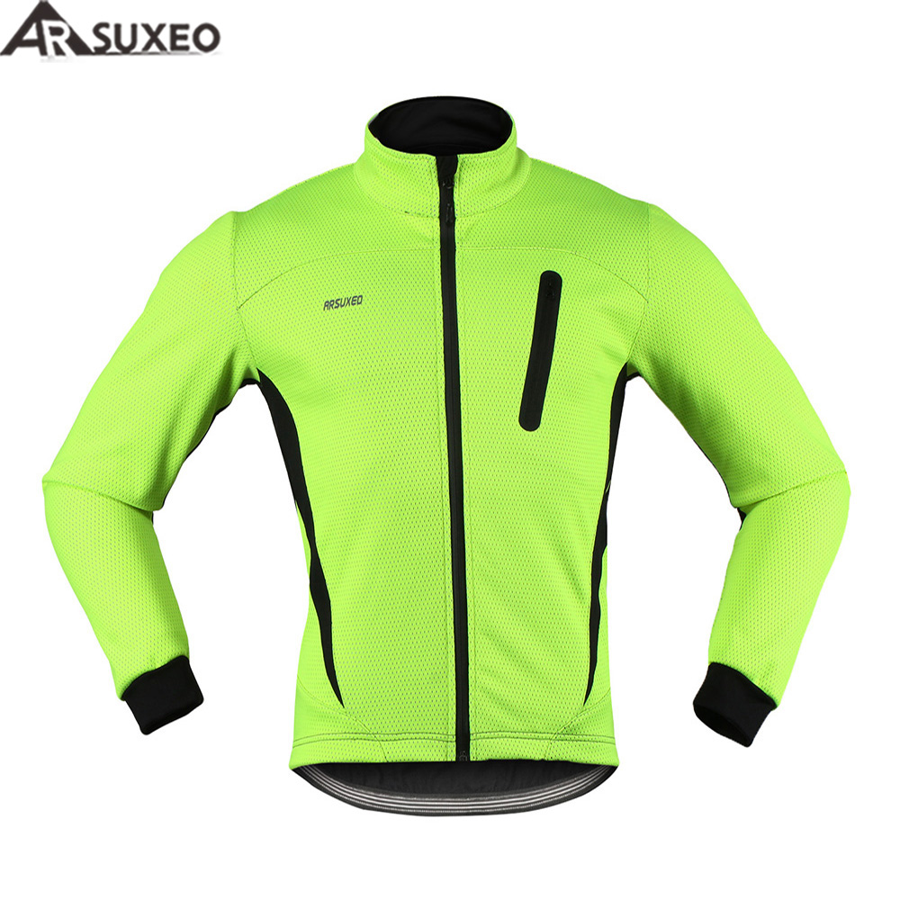 ARSUXEO 2017 Thermal Cycling Jacket Winter Warm Up Fleece Bicycle Clothing Windproof Waterproof Sports Coat MTB Bike Jersey 16H<br>