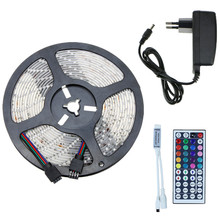 5m 10m RGB LED Strip Kit SMD Waterproof Flexible Tape IP65 60leds/m Rope Lighting With 44key IR Remote Controller+DC 12V Adapter(China)