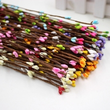 10pcs 40cm Bud Artificial Branches Flower Iron Wire For Wedding Decoration DIY Scrapbooking Decorative Wreath Fake Flowers