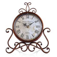 European Style Retro Wrought Iron Craft Table Clock Home Decoration Bronze Gold Mute Table Clock Handicraft Vintage Alarm Clock(China)