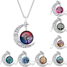 New Arrival Christmas Gifts Hollow Carved Moon Elf Peter Pan Life Tree Time Gem Necklace&pendant For Women Girl Dreamlike(China)